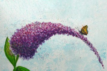 Butterfly on Buddleia created using Inktense Blocks